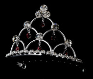 Girls Tiaras - Flower Girls Red Crystal Tiara - CR-HPC500RC