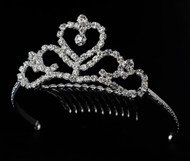 Girls Tiaras - Flower Girls Silver Heart Tiara - CR-HPC7005