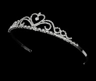 Girls Tiaras - Flower Girl Silver Heart Tiara - CR-HPC1010-S