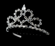 Girls Tiaras - Flower Girl Silver Heart Tiara - CR-HPC683