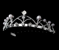Girls Tiaras - Flower Girls Silver Pearl Tiara - CR-HPC511P