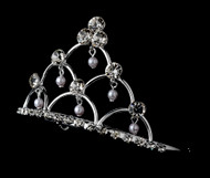 Girls Tiaras - Flower Girls Silver Pearl Tiara - CR-HPC500