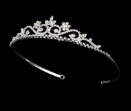 Girls Tiaras - Flower Girl Silver Pearl Tiara - CR-HPC6240