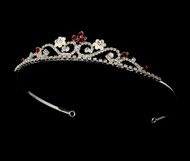 Girls Tiaras - Flower Girl Silver Red Tiara - CR-HPC6240-RE