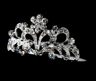 Girls Tiaras - Girls Silver Crystal Tiara Flower Girl Comb - CR-HPC2011
