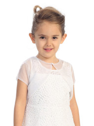 First Communion Jacket | White Bolero For Girls | Girls Organza Bolero