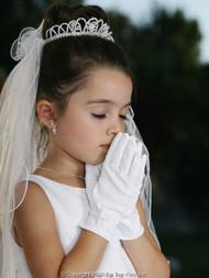Wrist Length Satin Gloves For Girls | White Communion Gloves