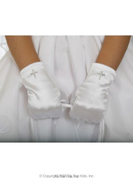First Communion Satin Cross Gloves | Wrist Length Gloves For Girls