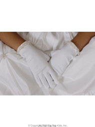 Tip Top Kids Flower Girl - First Communion Satin Bead Gloves