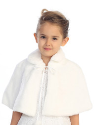 Infant Fur Cape | Fur Cape For Baby Girls | Off White Fur Cape For Baby