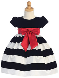 Velvet Striped Baby Dress For Holiday Party