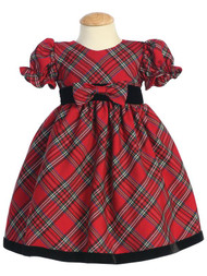 Baby Holiday Plaid Dress With Puffed Sleeves