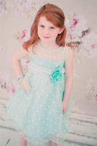 Polka Dot Organza Party Dress For Girls