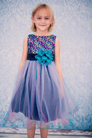 Girls Multi Color Sequin Party Dress With Flower Accent