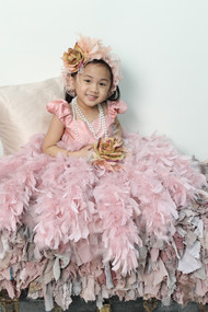 Brenna Couture Wedding Flower Girl Dress | Girl Feather Party Dress