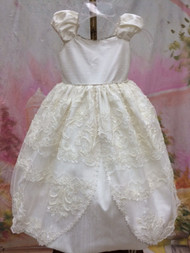 Silk Lace Flower Girl Dress | Silk Communion Dress | Christening Dress