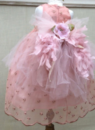 Feather Lace Dress For Baby | Baby Party Dress | Baby Dress