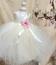 Ivory Baby Silk Tutu Dress | Infant Baby Special Occasion Dress