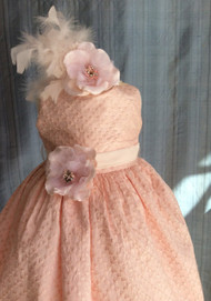 Couture Girls Infant Silk Dress | Baby Embroidered Dress