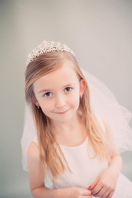 Girls Communion Veil With Tiara | 1st Communion Veil For Little Girls