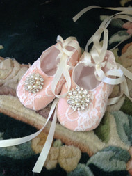 Baby Couture Lace Shoes | Infant Girl Victorian Christening Shoes