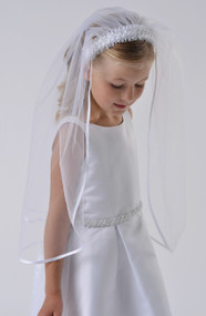 Girls Veil With Headband | White Communion Veil With Headband