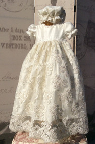 Baby Silk Lace Christening Dress | Couture Baby Girl Christening Dress