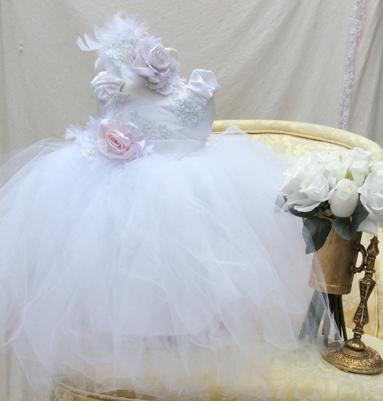Infant Baby Couture Tutu Dress  Baby Flower Girl Tutu Dress