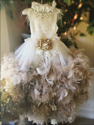 Girls One Of A Kind Couture Feather Dress | Special Occasion Girl Dress