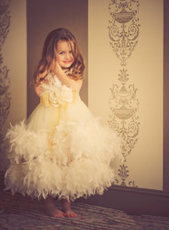 Girls Couture Feather Ball Gown | Girls Fairy Tale Satin Gown