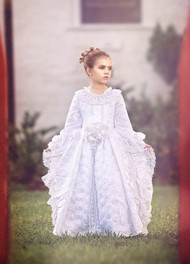 Girls Couture White Victorian Gown | White Flower Girl Dress