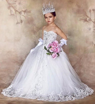Girls Couture Pageant Dress | Junior Bride Wedding Flower Girl Dress