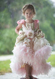 Hi Lo Couture Princess Pageant Gown | Girls Birthday Party Feather Gown