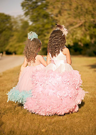 Girls Couture Princess Feather Dress | Wedding Flower Girl Party Dress