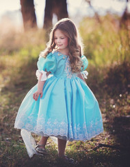 Beautiful Girls Tea Length Blue Pageant Dress | Girls Pageant Dress