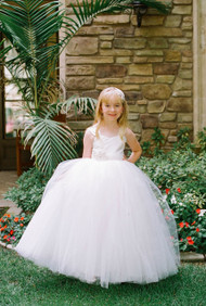 Girl White Communion Tulle Dress | Amalee Couture Flower Girl Dress