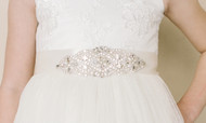 Girls Couture Crystal Accent Ribbon Sash For Communion Dress