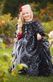 Black Victorian Couture Princess Lace Ball Gown | Girls Lace Ball Gown