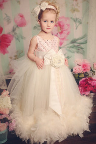 Flower Girl Feather Tulle Dress | Princess Couture Special Occasion Dress