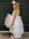 White Ruffle Tulle Hi Lo Dress For Girls | Flower Girl Tulle Dress