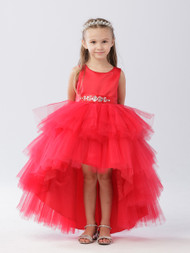 Red Ruffle Tulle Hi Lo Dress For Girls | Flower Girl Tulle Dress