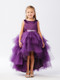 Eggplant Ruffle Tulle Hi Lo Dress For Girls | Flower Girl Tulle Dress