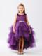 Eggplant Ruffle Tulle Hi Lo Dress For Girls | Flower Girl Tulle Dress