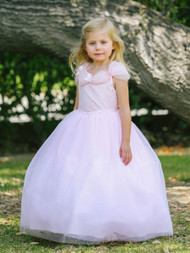 Girls Pink Organza Gown | Pink Flower Girl Party Floor Length Dress