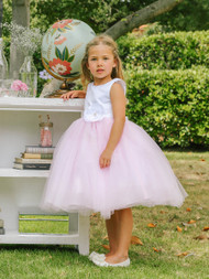 Two Tone Wedding Flower Girl Dress | Girls Birthday Party Dress