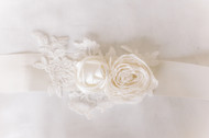 Girls Ribbon Sash For Communion Dress With Lace Applique And Rosettes