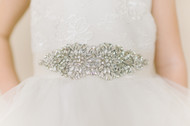 Couture Swarovski Crystal Belt For 1st Communion Flower Girl Dress