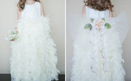 Wedding Flower Girl Couture Train With Flower Lace Accent
