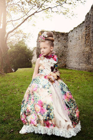 Luxurious Floral Satin Gown For Girls | Couture Princess Satin Gown
