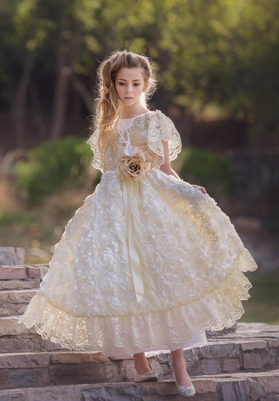 2585a839136 Couture Wedding Flower Girl Dress